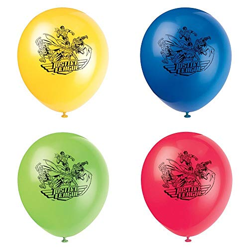 Unique Party - Globos de Látex - 30 cm - Diseño de la Liga de la Justicia - Paquete de 8 (49975) , color/modelo surtido