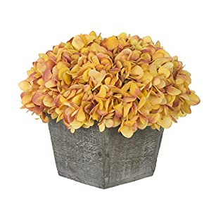 House of Silk Flowers Artificial Hydrangea in Grey-Washed Wood Cube (Gold/Burgundy)