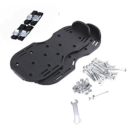 Wgwioo Lawn Aerator Shoes, Heavy Duty Spike Lawn Aerating Sandals For Soil With 4 Straps Metal Buckles,Sturdy Universal Size, Men Women,Black