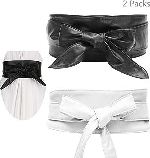 2 Packs Women's Bowknot PU Wide Waist Band Belt Women Belt Bow Tie Wrap Faux Leather Obi Style...