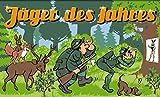 Fanshop Lünen Fahne - Flagge - Jäger des Jahres - Gewehr - Schützen - Schütze - Wald - Hirsch - Hund - 90x150 cm - Hissfahne mit Ösen -