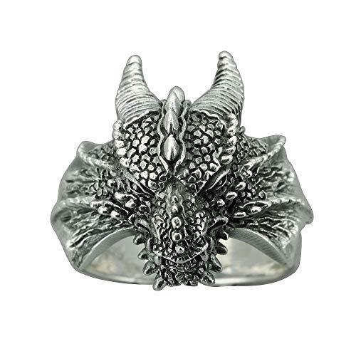 Beldiamo Anillo de plata de ley 925 Juego de Tronos Daenerys House Targaryen Dragon Ring regalo para fans película regalo joyas, Metal,