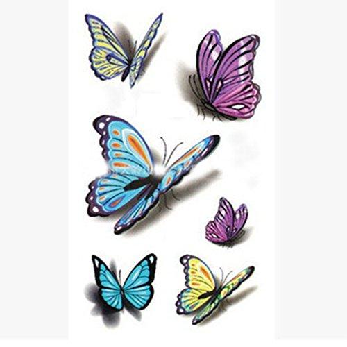 EROSPA® Tattoo-Bogen temporär - 3D Schmetterlinge / Butterfly - 10,5 x 6 cm