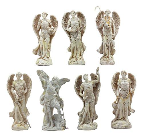Ebros Ivory Colored Orthodox Christian Church Seven Archangels Statue Set 5'Tall Michael Gabriel Raphael Sealtiel Barachiel Uriel Jegudiel Collectible Figurine Set