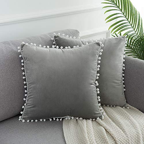 WLNUI Set of 2 Soft Velvet Grey Pillow Covers 18x18 Inch Square Decorative Cute Pom Poms Throw Pillow Covers Cushion Case for Sofa Couch Home Farmhouse Decor