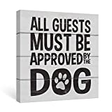 SUMGAR Black and White Wall Art Dorm Bedroom Inspirational Quotes Canvas Paintings Grey Dog Funny Sayings Pictures Animal Framed Artwork Prints Puppy Gifts Front Door Decor,12x12 inch