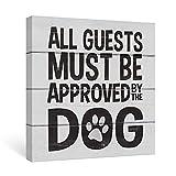 SUMGAR Holzfarbe Wandbild mit Spruch Hund Schwarz Englisch Zitat Familie Haustier auf Leinwand für Wohnung Wohnzimmer 30x30cm 1 Stuck