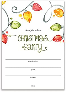 Christmas Party Invites with Envelopes (50 Pack) Colorful Vintage Holiday String Light Bulbs Perfect for Company Employee Luncheon Family Dinner Parties Seasonal Celebration Blank Invitations VI0070