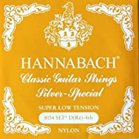 HANNABACH E8154 SLT-Yellow D 4弦 クラシックギターバラ弦 4弦×6本セット