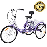 Slsy Adult Tricycles 7 Speed, Adult Trikes 20/24 / 26 inch 3 Wheel Bikes, Three-Wheeled Bicycles Cruise Trike with Shopping Basket for Seniors, Women, Men. (Light Violet, 24' Wheels/ 7-Speed)