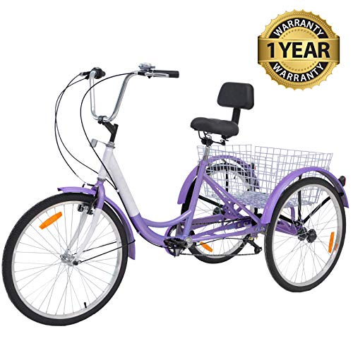"Slsy Adult Tricycles 7 Speed, Adult Trikes 20/24 / 26 inch 3 Wheel Bikes, Three-Wheeled Bicycles Cruise Trike with Shopping Basket for Seniors, Women, Men. (Light Violet, 24"" Wheels/ 7-Speed)"