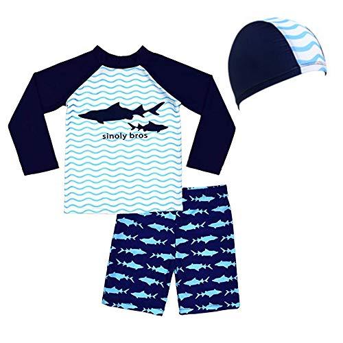 Lazzon Kinder Badebekleidung Langärmliges Badeanzug 2er Set Badeshirt Badeshorts UV-Schutz 50+ Bademode Schwimmanzug für Jungen Mädchen