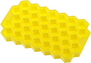 DYJD Honeycomb Ice Cube Trays,2 Pcs Food Grade Silicone Rubber Flexible and Bpa Free 72 Cubes with Lid, Cocktail Whiskey Mold Storage Containers Yellow