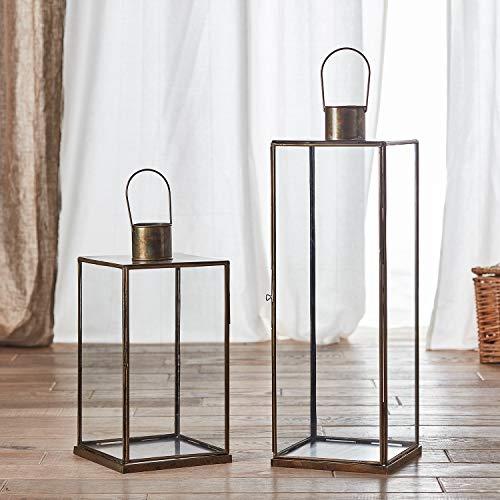 Lights4fun - Set di 2 Lanterne di Metallo e Vetro Artigianali 40cm e 60cm