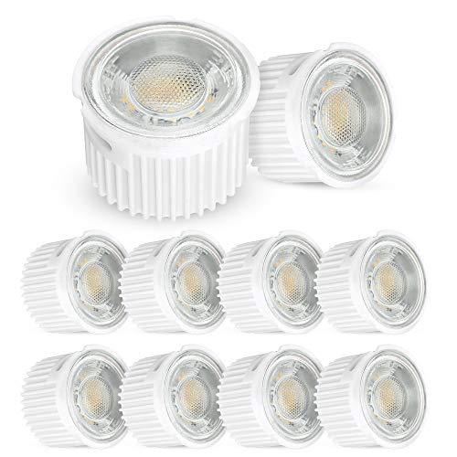 10 Stück linovum® ultra flaches 5W LED Modul Set nur 33mm tief - 230V für Einbauleuchten Einbaustrahler Rahmen, ersetzt 50W Halogen, warmweiß 2700K