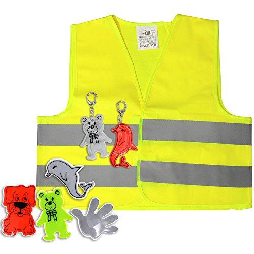 COM-FOUR® 7-delige reflectorset voor kinderen - veiligheidsvest, sleutelhanger, reflecterende stickers voor meer verkeersveiligheid (07 stuks - reflectorset voor kinderen V1)