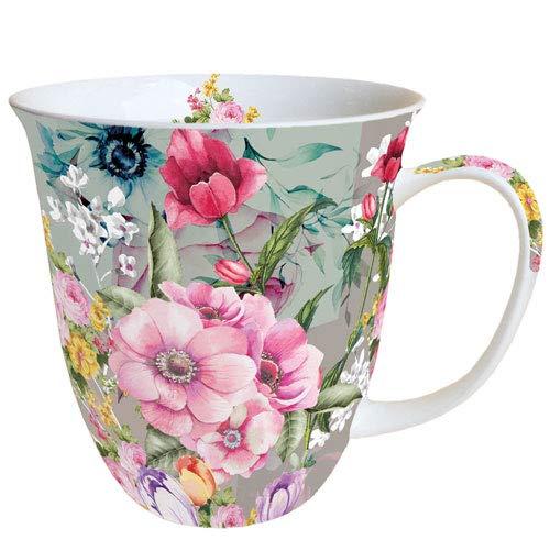 Ambiente Porzellan Becher Bone China Mug Tasse Meghan Floral Für Tee Kaffee ca. 0,4L