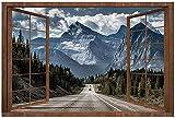 3D falso madera ventana Iceberg carretera bosques alta definición falso marco de ventana ventana ventana vinilo dormitorio sala de juegos pegatinas de pared 28 x 20 pulgadas