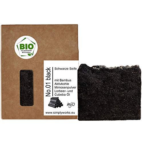 Mijo No.01 Schwarze Seife Naturseife mit Aktivkohle Bio Olivenöl für Gesicht gegen Pickel unreine Haut Akne ca. 100g