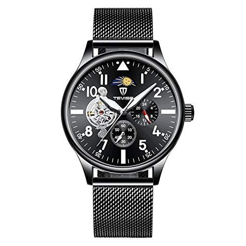 QZPM Moda Hombres Automático Mecánico Relojes De Pulsera Acero Inoxidable Correa Luminoso Puntero Calendario Multifunción Business Relojes
