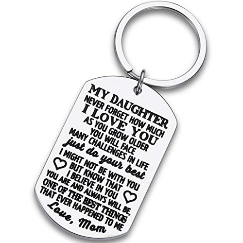 To My Daughter Keychain Christmas Gifts for daughter from Mom Dad Father Inspirational Stocking Stuffers For Her From Teen Adult Women Teenage Girls Kids Birthday Gradation Wedding Presents