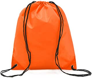 Bullidea Drawstring Bag Waterproof Solid Color Shoulder Backbag Gym Folding Bag for School Travel Or Sport(Orange)