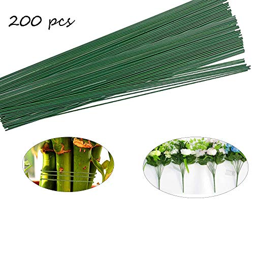 200 PCS Floral Stem Wire Flower Arrangements and DIY Crafts,Dark Green,Floral Wire for Florist Flower Arrangement 16 Inches