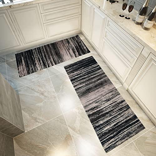 Küchenläufer Waschbar rutschfest Küchenmatte Küchenteppich Waschbar Teppich Läufer Küche Fußmatte Badematten Set Cojzlx rutschfeste Teppich Set für Küche Zuhause 2PCS 45CM*80CM und 45CM*160CM