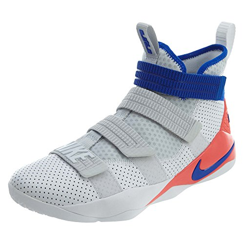 Nike Mens Lebron Soldier XI SFG Basketball Shoes White/Infrared/Pure Platinum/Racer Blue 897646-101...