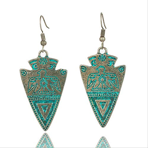 Boucles d'oreilles pour femmes Vintage boucles d'oreilles ethniques pour femmes femme Rose motif de gravure goutte boucles d'oreilles suspendues accessoires indiens en laiton