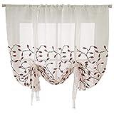 VIVILINEN Cortina Visillo de Gasa Elevable con Cintas- Translúcido Persianas Romano Bordado para Cocina Balcón Dormitorio Sala de Estar (Rojo, 60_x_120_cm)