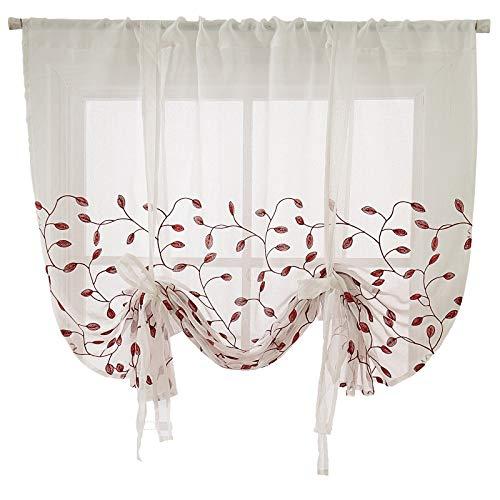 VIVILINEN Cortina Visillo de Gasa Elevable con Cintas- Translúcido Persianas