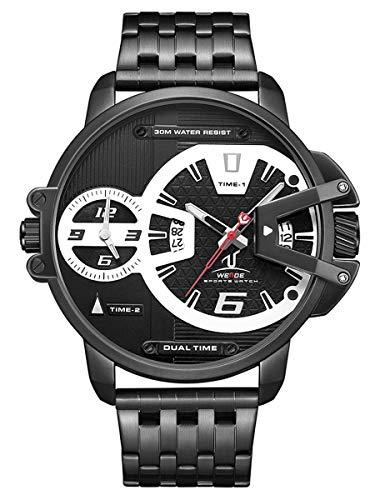 Alienwork Herren-Armbanduhr Quarz schwarz mit Edelstahl Metallarmband Kalender Datum XL Über-große