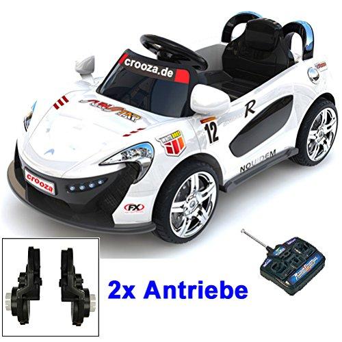 crooza Roadster mit 2x Motoren mp3 LED Elektro Kinderauto Kinder Auto Elektroauto Elektrofahrzeug (weiss)
