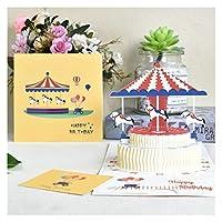 NXYCXXJS 3Dステレオカードポストカードポストカードギフトカード付き封筒ステッカーをグリーティングカード誕生日カードのご挨拶 (Color : Airplane)