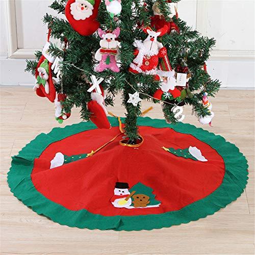 Meiju Weihnachtsbaum Decke,Weihnachtsbaum Rock Dekoration Weinachtsdeko Rund Weihnachtsbaumdecke Röcke Ornaments für Weihnachtsschmuck Baum Rock Deko Schutz (90 cm,Weihnachtsmütze)