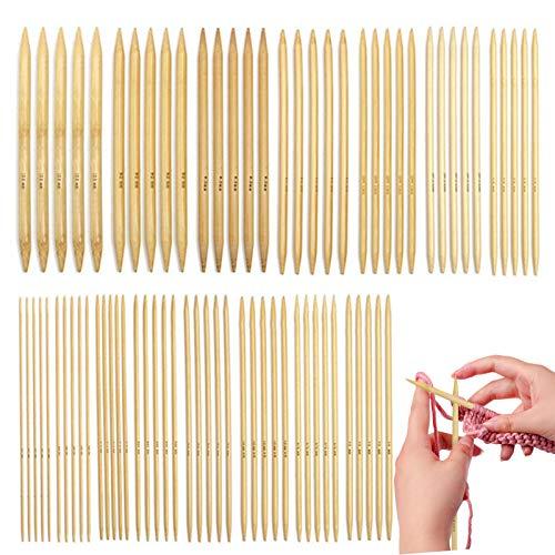 Xionghonglong Stricknadeln Bambus Set,75PCS Stricknadeln,Stricknadeln Set,Stricknadeln aus Bambus,Needles Stricknadel Set,Knitting Needles,Stricknadeln für Socken,Set Holzstricknadeln (Weiß)