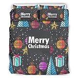 Juego de ropa de cama con diseño de árbol de Navidad, 3 unidades, estampado 3D, muy suave, funda nórdica con cremallera, incluye 1 funda nórdica y 2 fundas de almohada blancas, 229 x 229 cm