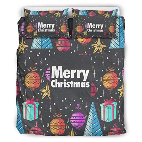 Zhcon Quilt Bedding Set Christmas Tree New Year Soft Lightweight All-Season - 3 Piece Bed Sets for Girls Bedroom white 104x90 inch