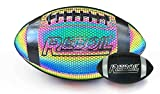 REBOIL Holographic Glowing Football–Light Up with Camera Flash–Advance Reflective Composite Leather - HoloHoops Gifts Toys for Outdoor Night Game–Official Size. (Size 7)