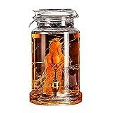 LXJ Cubeta de Hielo Botella 4.5l para Ginseng Bottle Decanter Botella De Cristal 2500ml Botella Transparente Whisky Decanter Botella De Cristalería + Grifo De Bronce