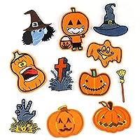 ワッペン アイロン、刺繡アップリケ帽子、ジャケット、コート、Tシャツ、ジーンズ、バックパック 怖いかぼちゃ 11個入り