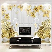 写真の壁紙3D立体空間カスタム大規模な壁紙の壁紙 金色の翼のある白鳥の壁の装飾リビングルームの寝室の壁紙の壁の壁画の壁紙テレビのソファの背景家の装飾壁画-200X140cm