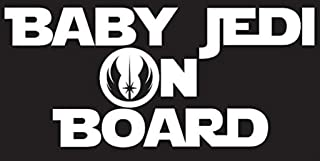 CCI052 - Baby Jedi on Board Decal Sticker Inspired By Star Wars | Decal is White | Car or Truck Decal | 7.25 X 3.25 In...