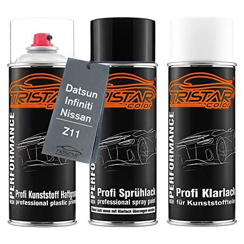 TRISTARcolor Autolack Spraydosen Set für Kunststoff Stoßstange für Datsun/Infiniti/Nissan Z11 Preto Premium Metallic Haftgrund Basislack Klarlack mit Weichmacher Sprühdose