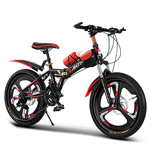 GZMUK 20/22/24 Inch Collapsible Adults Child Mountain Bike for Men Women,21-Speed Anti-Slip MTB Suitable for Children And Adults Over 10 Years Old,Red,24in