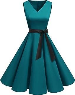 bridesmay Damen Elegant Sommer Kleid A-Linien Petticoat Kleid Rockabilly Festliches Cocktailkleid für Brautmutter Hochzeit Gast