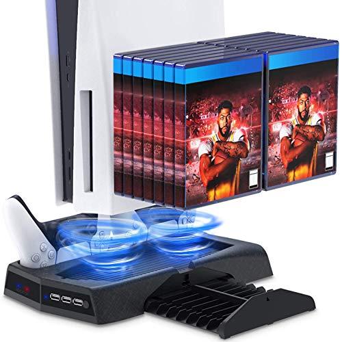 LVGOD PS5 Playstation 5 Cargador Multifunción del Controlador del Juego del Estante De Enfriamiento del Anfitrión del Soporte De Carga para Play Station 5 Soporte De Base para Gamepad
