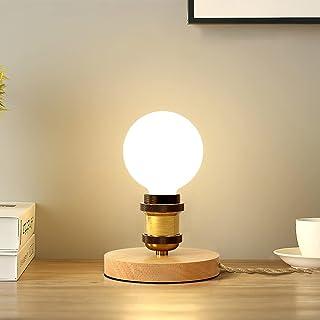 SAINUO lampe de table,E27 design rétro industriel, bois & métal, éclairage salon & chambre, lampe de chevet, pour ampoule ...