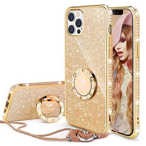 OCYCLONE Hülle für iPhone 12 Pro Max, Glitter Diamond Handyhülle mit Ringständer Schutzhülle für Mädchen Frauen, Glitzer iPhone 12 Pro Max Handyhülle 6,7 Zoll - Gold